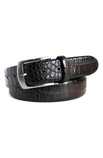 Boconi Croc Embossed Leather Belt, Espresso