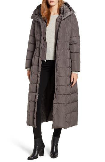 Cole Haan Quilted Coat With Inner Bib, Grey