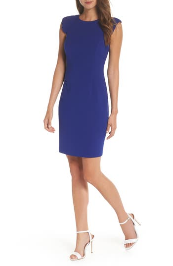Eliza J Extended Shoulder Sheath Dress, Blue