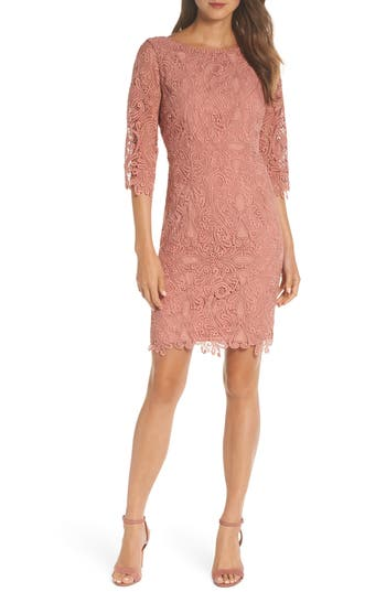 Eliza J Lace Sheath Dress, Coral