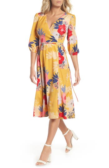 Eliza J Faux Wrap Midi Dress, Yellow