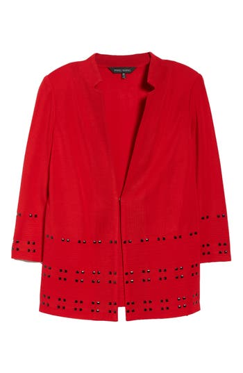 Ming Wang Studded Knit Jacket, Red