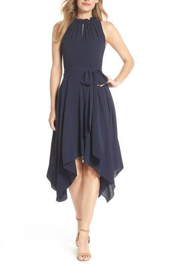 Eliza J Handkerchief Hem Dress, Blue