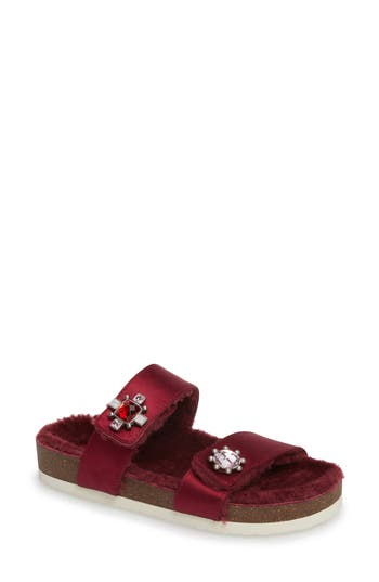Celia Genuine Shearling Slide Sandal, New Claret