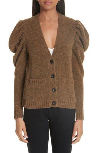 Co Full Sleeve Merino Wool Blend Cardigan, Brown