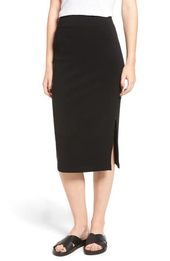 Side Split Skirt, Black