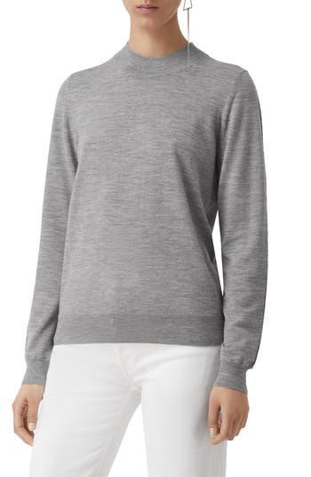Burberry Pondhead Merino Wool Sweater, Grey