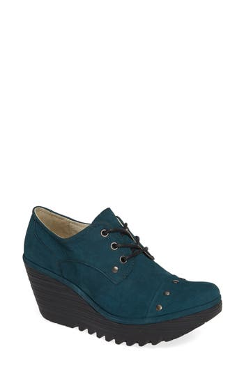 Fly London Yoti Lace-Up Wedge - Green