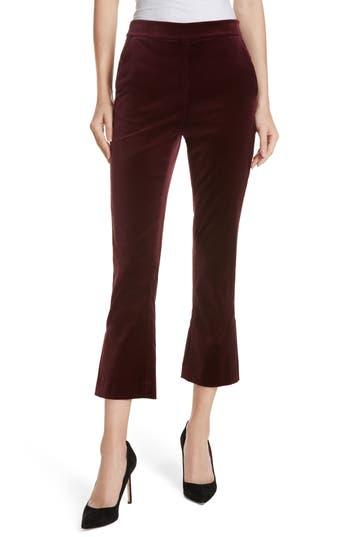 Frame Split Hem Flare Leg Velvet Pants, Burgundy