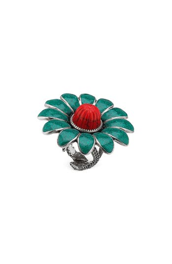 Gg Marmont Flower Ring, Sterling Silver/ Turquoise