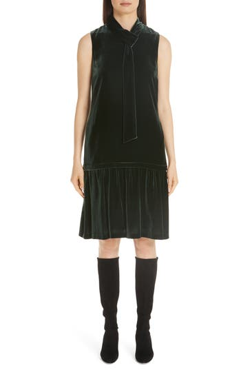 1920s Style Dresses, Flapper Dresses Womens Lafayette 148 New York Abbie Velvet Dress $648.00 AT vintagedancer.com
