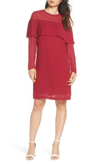 Sam Edelman Pleated Overlay Shift Dress, Red
