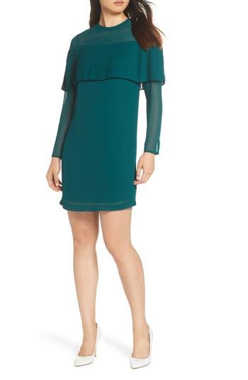 Sam Edelman Pleated Overlay Shift Dress, Green