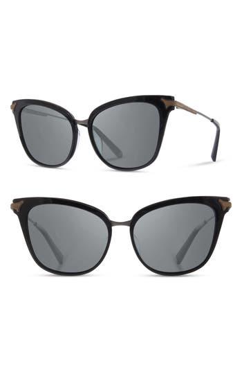 Shwood Arlene 5m Polarized Cat Eye Sunglasses - Gloss Black/ Rose Gold/ Grey