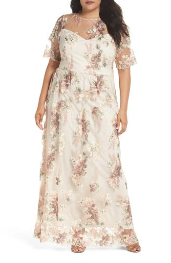 Plus Size Adrianna Papell Embroidered Gown, Pink