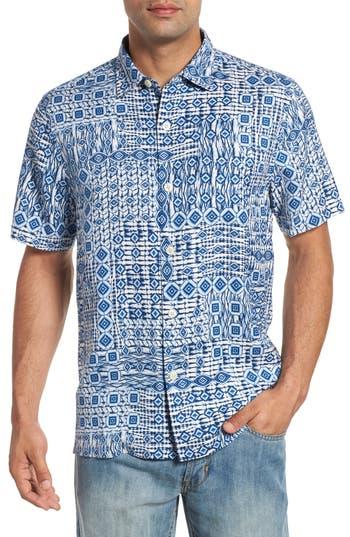 Tommy Bahama Tile Traveler Regular Fit Silk Camp Shirt, Blue