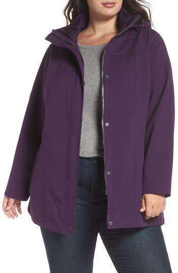 Plus Size Kristen Blake Hooded Soft Shell Jacket, Purple