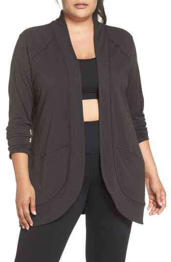 Plus Size Shape Activewear French Terry Cardigan, Black