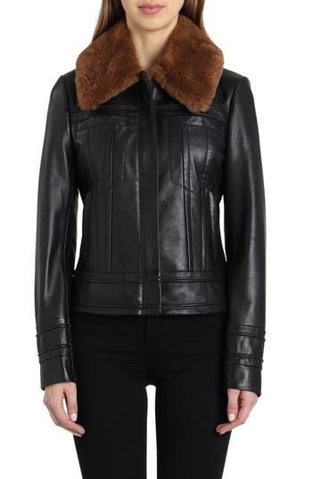 Badgley Mischka Leather Aviator Jacket With Genuine Shearling, Black