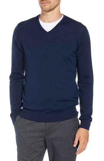 Bonobos Slim Fit V-Neck Merino Wool Sweater, Blue