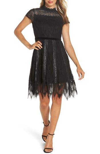 Foxiedox Maisie Lace & Velvet Cocktail Dress, Black
