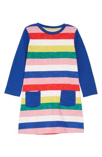 60s 70s Kids Costumes & Clothing Girls & Boys Toddler Girls Mini Boden Stripy Jersey Dress Size 3-4Y - Pink $34.00 AT vintagedancer.com