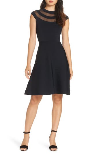 Eliza J Fit & Flare Sweater Dress, Black