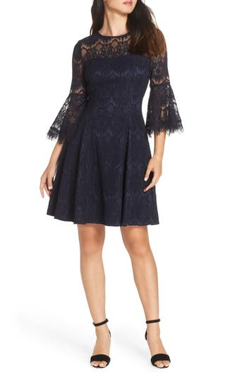 Eliza J Bell Sleeve Lace Dress, Blue