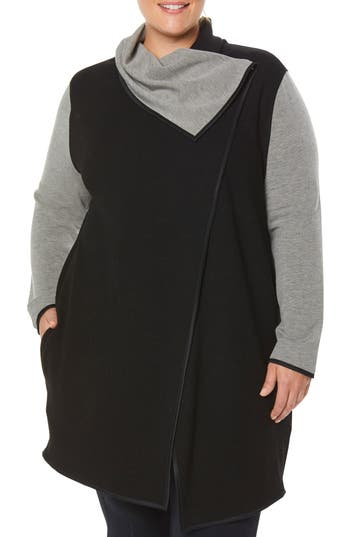 Plus Size Shape Activewear Incognito Waterfall Wrap, Black