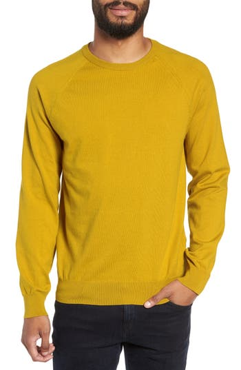 French Connection Regular Fit Stretch Cotton Crewneck Sweater, Yellow