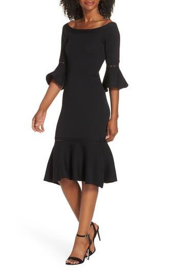 Zara Off The Shoulder Sweater Dress, Black