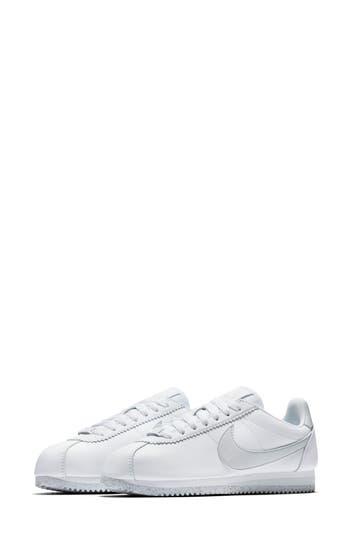 Classic Cortez Flyleather Sneaker, White/ Light Silver/ White
