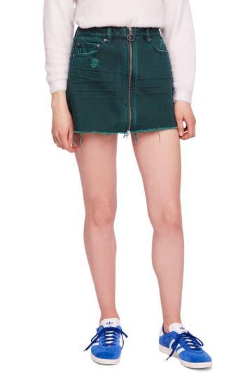 Free People Zip It Up Denim Miniskirt, Blue/green