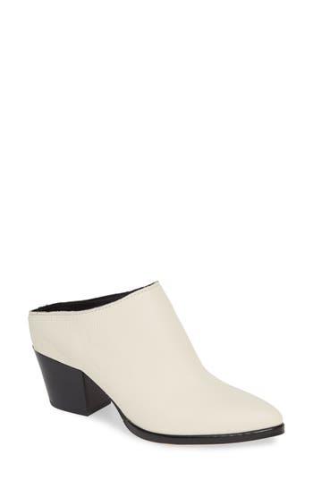 DOLCE VITA Women'S Roya Almond Toe Leather Mid-Heel Mules in Off White