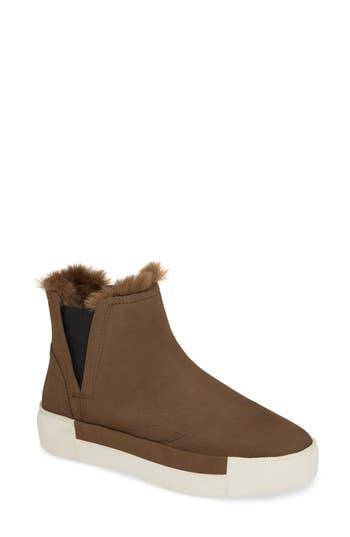 Jslides Val Faux Fur Lined Platform Sneaker- Beige