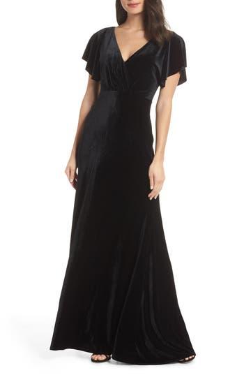 Ellis Flutter Sleeve Stretch Velvet Gown, Black