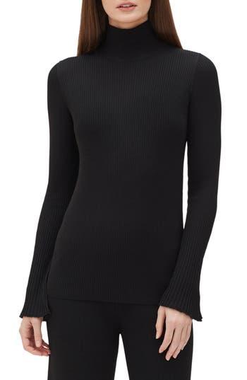 Lafayette 148 New York Rib Knit Merino Wool Sweater, Black