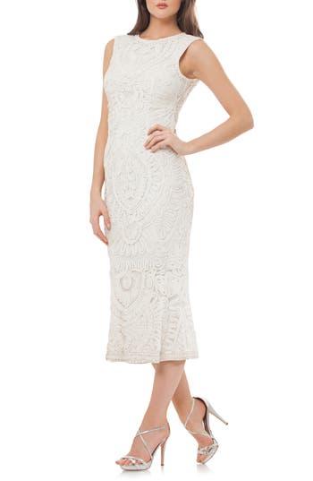 Vintage Style Wedding Dresses, Vintage Inspired Wedding Gowns Womens Js Collections Soutache Mesh Dress $260.00 AT vintagedancer.com