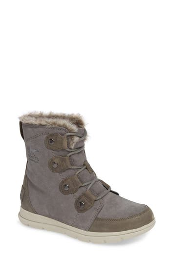 Sorel Explorer Joan Waterproof Boot With Faux Fur Collar, Grey