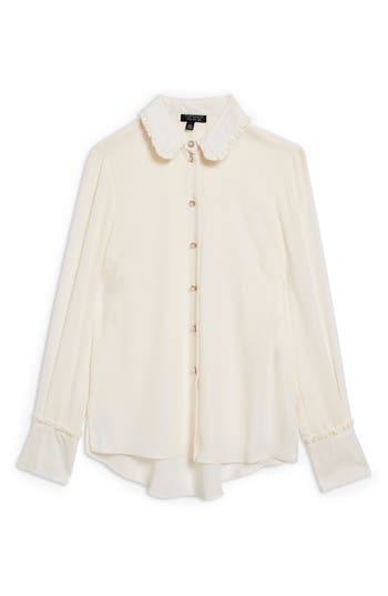 Edwardian Blouses | White & Black Lace Blouses & Sweaters Womens Topshop Ruffle Collar Shirt Size 2 US fits like 0 - Ivory $68.00 AT vintagedancer.com