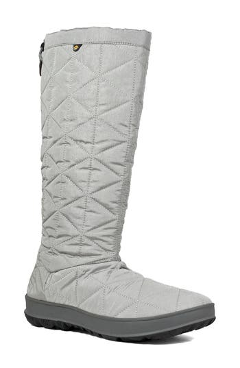 Bogs Snowday Tall Waterproof Quilted Snow Boot, Grey