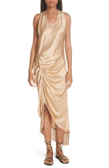1920s Style Dresses, Flapper Dresses Womens Helmut Lang Asymmetrical Fringe Draped Dress $645.00 AT vintagedancer.com