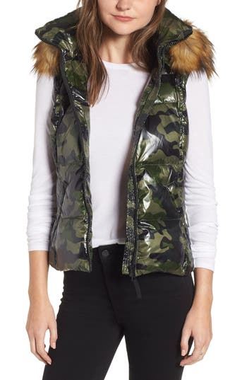 S13 Snowcat Hooded Down & Feather Vest With Faux Fur Trim, Green