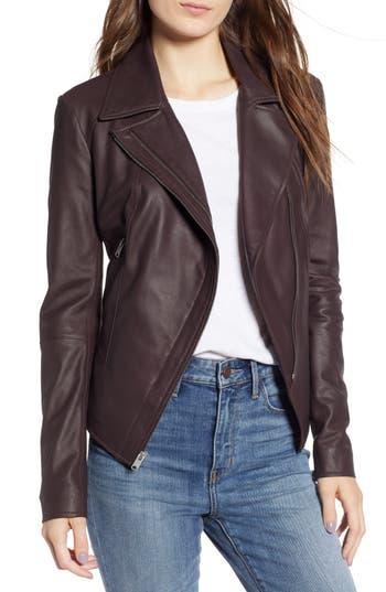 MARC NEW YORK Bayside Lightweight Leather Moto Jacket in Burgundy