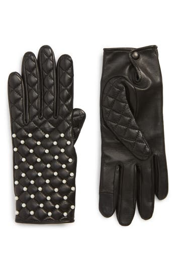 Agnelle Imitation Pearl Quilted Lambskin Leather Gloves - Black