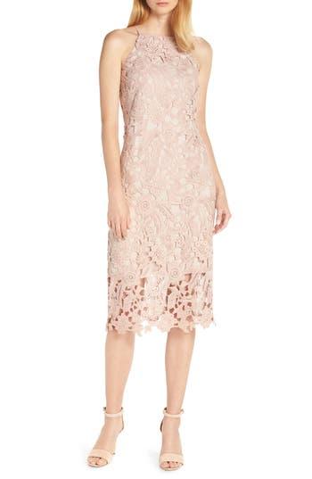 Sam Edelman Halter Top Lace Midi Dress, Pink