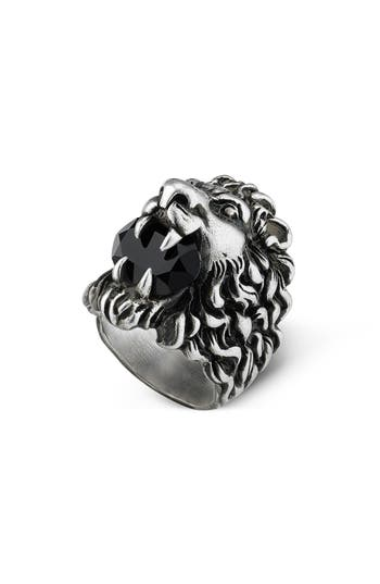 Lion Head Aureco Crystal Ring, Silver