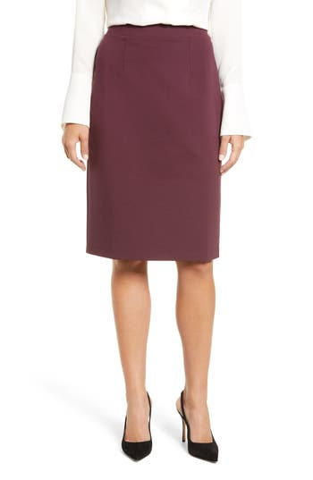 Halogen Ponte Pencil Skirt, Burgundy