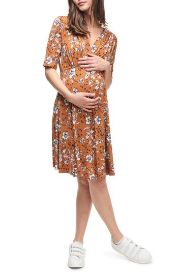 Vintage Style Maternity Clothes Womens Maternal America Empire Waist Stretch Maternity Dress Size Large - Orange $96.00 AT vintagedancer.com