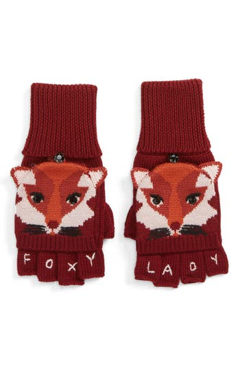 Kate Spade New York Foxy Convertible Mittens, Size One Size - Red